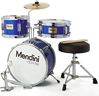 Mendini by Cecilio 13 inch 3-Piece Kids/Junior Drum Set with Throne, Cymbal, Pedal &..