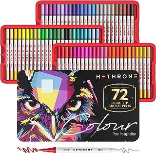 Hethrone 72 Colori Pennarelli a Doppia Punta con Libro di Pittura per Bambini e Adulti