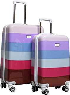 Nicole Miller Luggage Rainbow Collection - 2 Piece Hardside Lightweight Spinner Suitcase Set - Travel Set includes 20-Inch...
