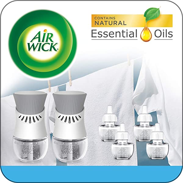 Air Wick Plug In Scented Oil Starter Kit 2 Warmers 6 Refills Fresh Linen Same Familiar Smell Of Fresh Laundry Eco Friendly Essential Oils Air Freshener