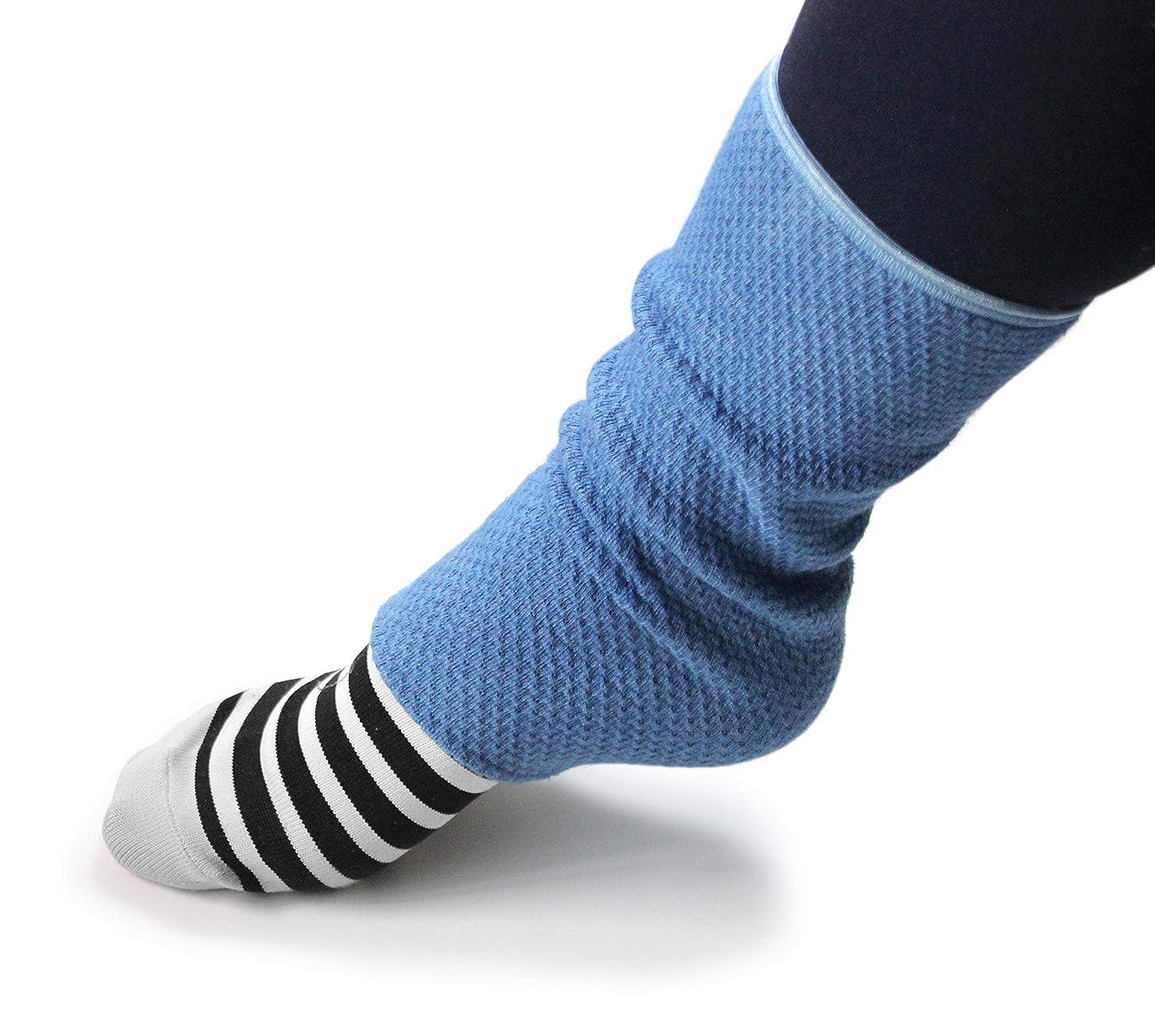 変な走るサービス足首かかとウォーマー(ロング)藍染(あまべ藍)EMバイオ糸 ワッフル編 低速編み機使用生地 日本製 トータス