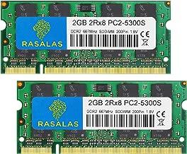 PC2-5300,4GB Kit (2X 2gb) DDR2 667 Ram Laptop 667mhz DDR2 PC2-5300,Rasalas DDR2 Sodimm pc2-5300s 1.8v CL5 Non-ECC Unbuffered Notebook Laptop Memory Modules
