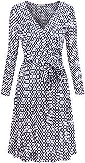 MOOSUNGEEK Women's Vintage V Neck A Line Faux Wrap Dress with Belt