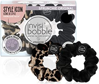 invisibobble Sprunchie Spiral Hair Ring - True Black and Purrfection- 2 Pack- Scrunchie Stylish Bracelet, Strong Elastic G...