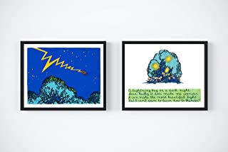 Lightning Bug Firefly Kids Wall Decor Art Poster - Fun Quote - Set of 2 Prints - Night Theme - Playroom Bedroom Classroom or Nursery - 8 x 10