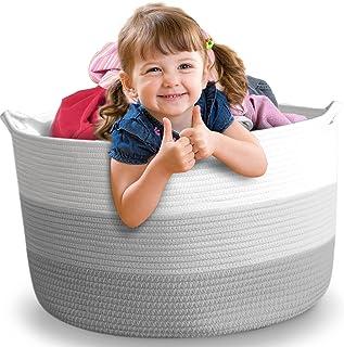 "Nursery Storage Basket, 22""x22""x16"",XXL, Cotton Rope Baby Laundry Basket, Blanket Basket, Toy Storage Hamper, Laundry Hamper"