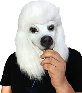 ifkoo Latex Poodle Mask Deluxe Halloween Costume Party Funny Super Bowl Underdog Dog Head Mask Animal