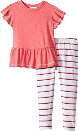 Gather Hem Top with Stripe Leggings Set (Toddler/Little Kids)