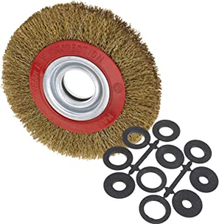ENET - Cepillo de rueda de pulido de acero inoxidable de triturador para anillos de adaptación polaca y reductor de 150 mm