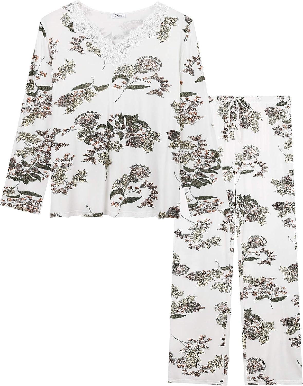 Joyaria Womens Soft Bamboo V Neck Long Sleeve Pajama/Pj/Sleep/Lounge Sets with Pants