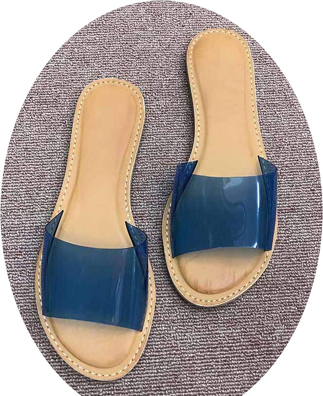 Elibone Womens Slippers 2019 Summer shoes PVC Transparent Casual shoes Flat Slip On Woman Beach shoes Sandals Peep Toes Female Slides DE