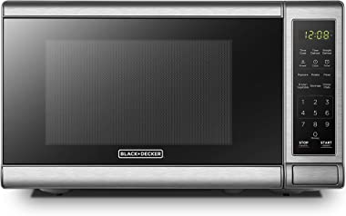 BLACK+DECKER EM720CB7 Digital Microwave Oven with Turntable Push-Button Door, Child Safety Lock, 700W, Stainless Steel, 0.7 C