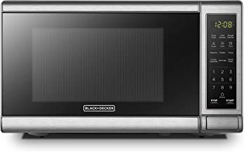 BLACK+DECKER EM720CB7 Digital Microwave Oven with Turntable Push-Button Door,Child Safety Lock,700W, Stainless Steel, 0.7 ...