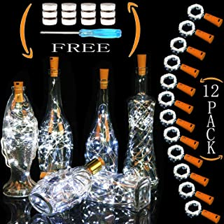 Cooo Wine Bottle Lights with Cork 12 Pack 20 Led Lamp 36 Pre-Installed+12 Replacement Battery Operated with Fairy Light 7ft Used DIY Wedding Party Bedroom Decoration Halloween Christmas-Cool White