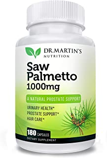Super Strength Saw Palmetto, 180 Capsules Prostate Health Supplement, Extract & Berry Powder Complex, Support to Help Reduce Frequent Urination & Natural DHT Blocker to Help Prevent Hair Loss