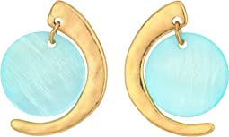Gold and Blue Mother-of-Pearl Drop Earrings
