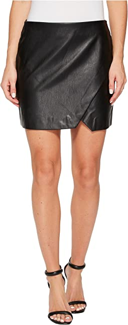 Black Vegan Leather Mini Skirt in Black Ice