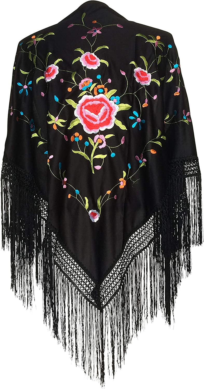 La Senorita Spanish Flamenco Dance Shawl black colord flowers Large