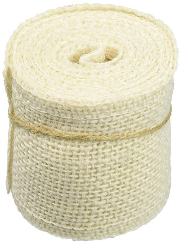 Huachnet Natural Jute Burlap Ribbon Roll Fabric for Wedding Party Home DIY Decoration (Pure White)-Pack of 1