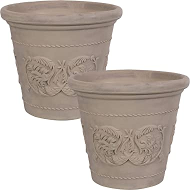 Sunnydaze Arabella Flower Pot Planter - Outdoor/Indoor Extra-Durable Double-Walled Polyresin with Fade-Resistant Beige Finish - Set of 2 - Large 20-Inch Diameter