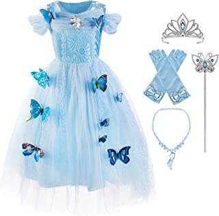 Okidokiyo Girls Cinderella Princess Costume Classic Deluxe Party Dress up