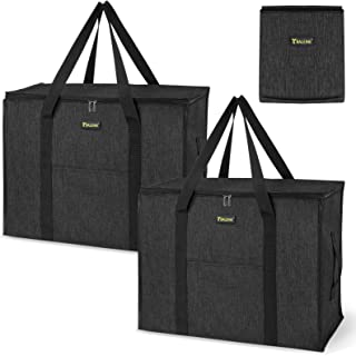 BALEINE 2 Pack Storage Tote with Zippers & Carrying Handles, Heavy-Duty Oxford Fabric Moving Bags for Space Saving Moving ...