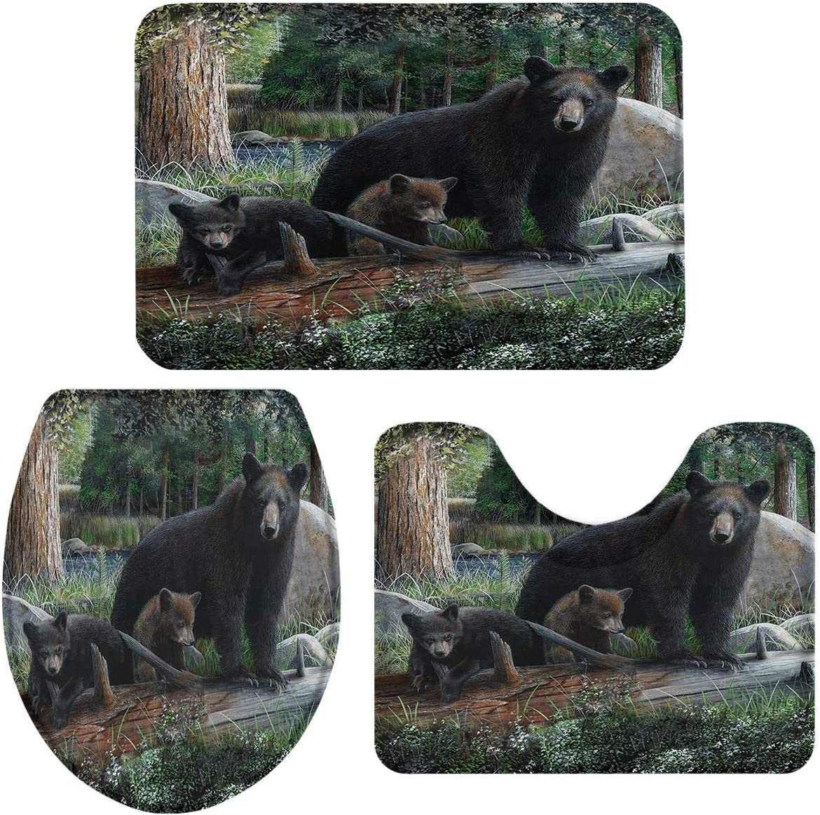 3 Pieces Bathroom Rug Set Rustic Jacksonville Mall Genuine Free Shipping Bears Cubs Family 20x and Black