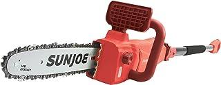 Sun Joe SWJ807E-RED 10 inch 8.0 Amp Electric Convertible Pole Chain Saw, Red