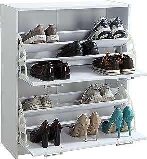 4D Concepts Deluxe Double Shoe Cabinet, White