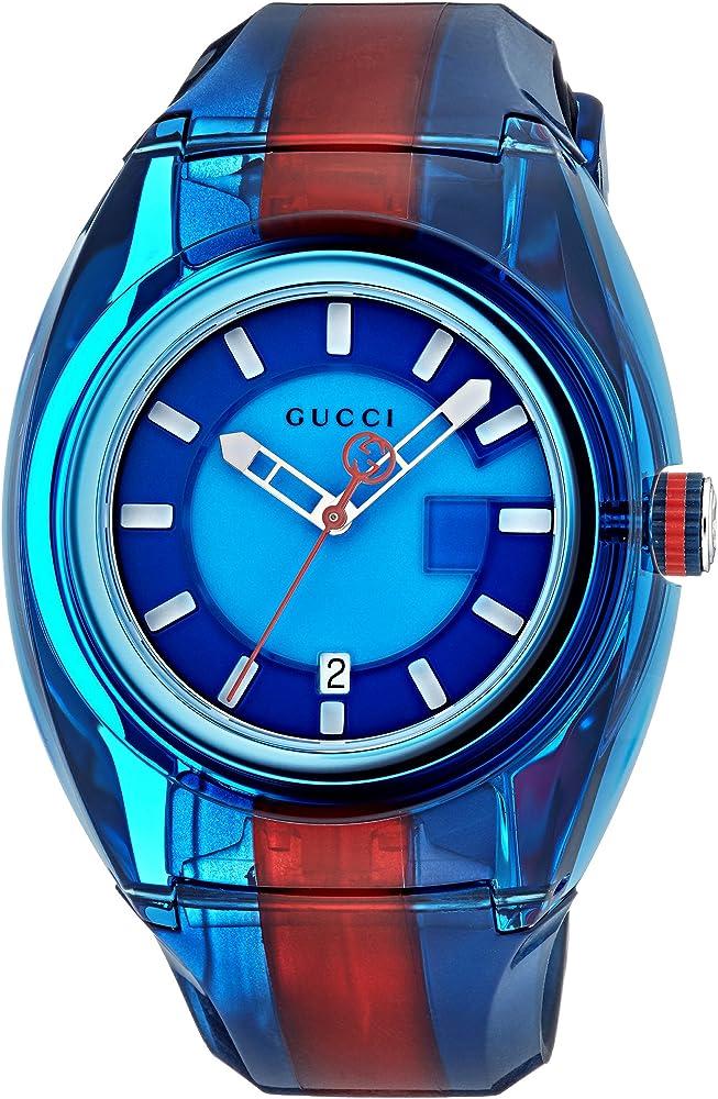Gucci ,orologio unisex,cassa in acciaio inossidabile,e cinturino  in pvc trasparente YA137112