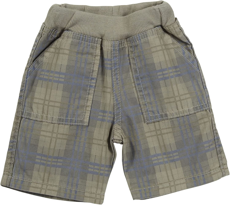 Charlie Rocket Twill Plaid Shorts (Baby) - Sand-6-9 Months