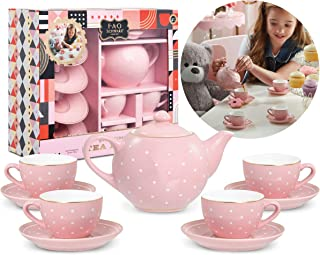FAO Schwarz Ceramic Tea Party Set for Kids, Pink Polka Dot, 9 Pieces