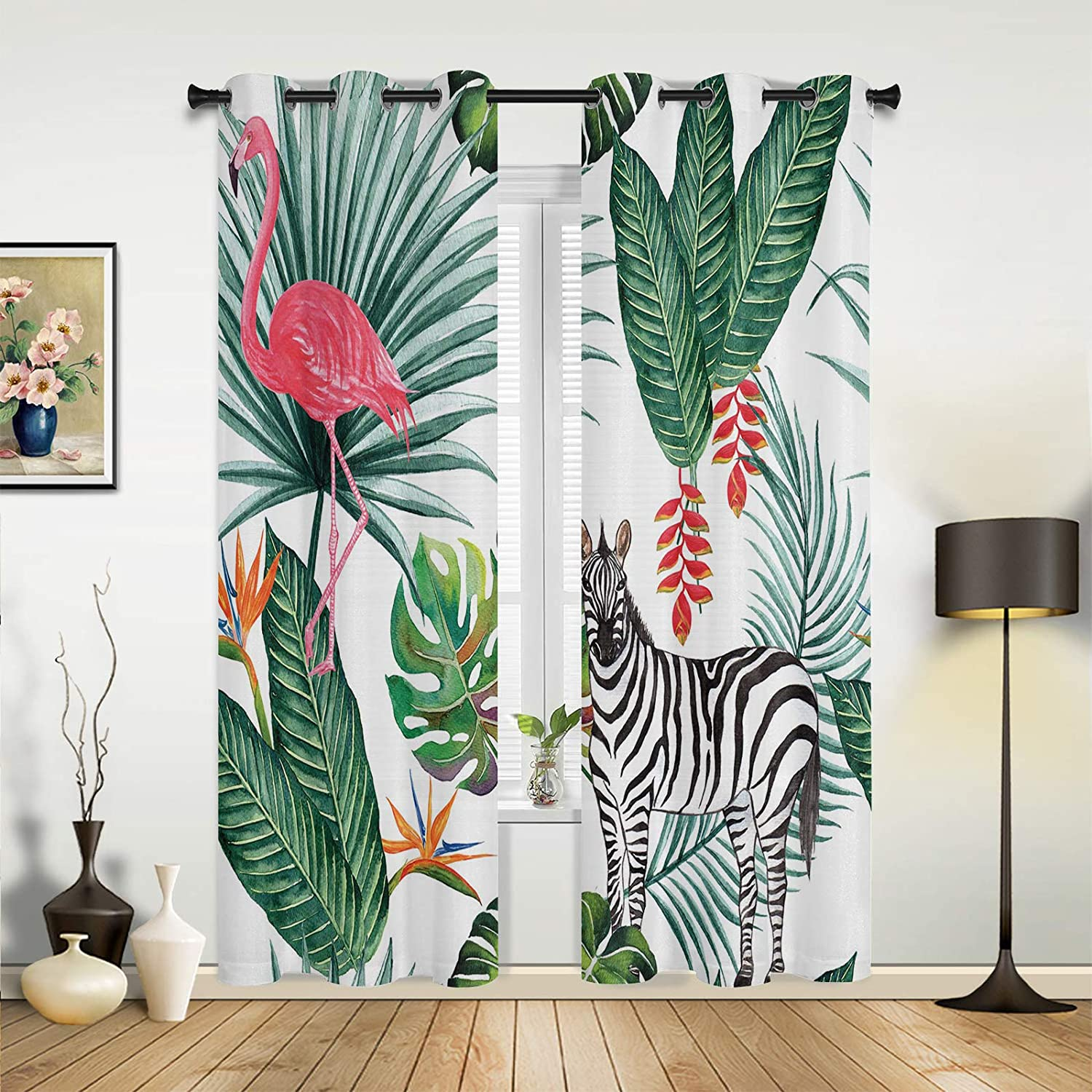 Window Sheer Curtains 100% quality warranty It is very popular for Bedroom Room Living Fu Tropical Jungle