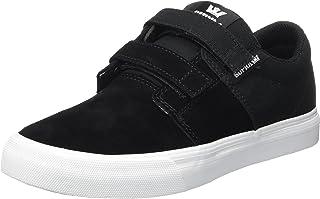 Supra Children Kids Stacks II Vulc Velcro Black White Shoes Size 5.5
