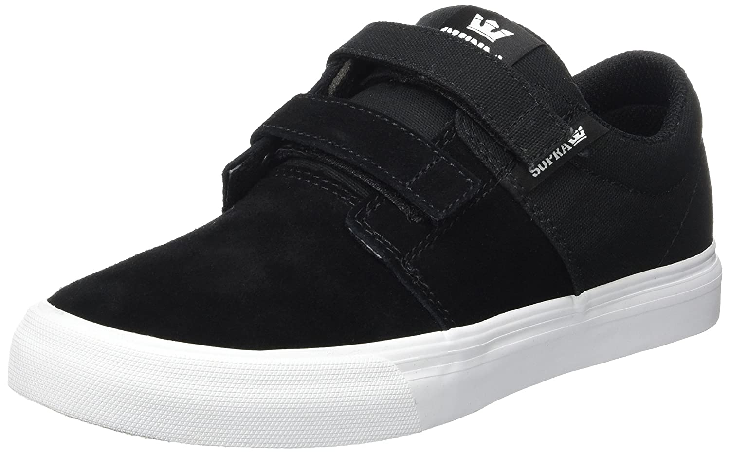 Supra Children Kids Stacks II Vulc Velcro Black White Shoes Size 6