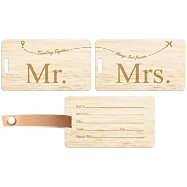 4 Pack Mr and Mrs Honeymoon Gifts, 2 Each of Mr and Mrs Luggage Tags, Mr and Mrs Gifts for Bridal Wedding Honeymoon