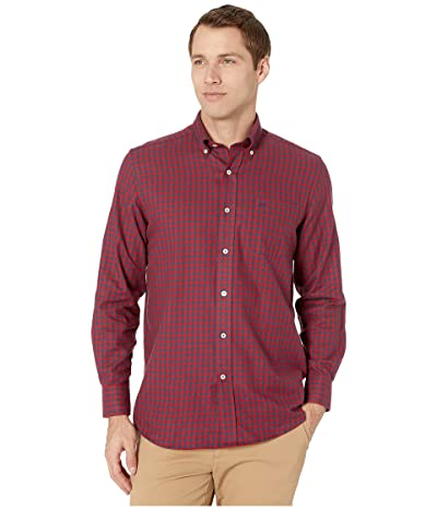Southern Tide Donner Gingham Performance Button Down Sport Shirt (Chili Pepper) Men