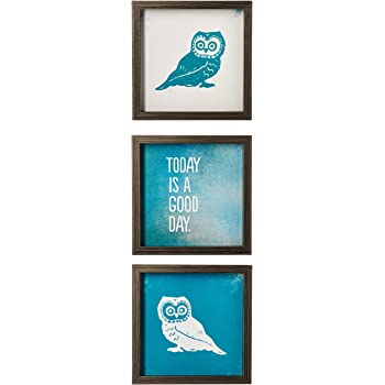 Intelligent Design Wise As an Owl Wall Art - Framed Gel Coated Owl Painting Home Décor, Caricature 3 Piece Set Canvas Painting for Living Room Accent, Easy to Hang Wooden Frame, Blue