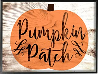 The Stupell Home Décor Collection Pumpkin Patch Halloween Typography Oversized Framed Giclee Texturized Art, 16 x 20