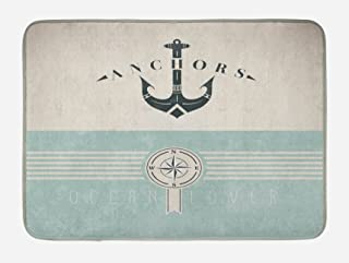 Ambesonne Nautical Bath Mat, Vintage Marine Design for Ocean Lovers Anchor Compass and Stripes, Plush Bathroom Decor Mat with Non Slip Backing, 29.5