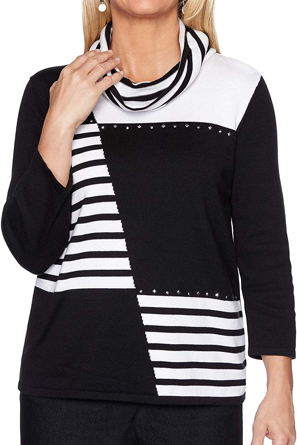 Alfred Dunner Well Red Black and Det Max 51% OFF White Sweater Pullover with Max 72% OFF
