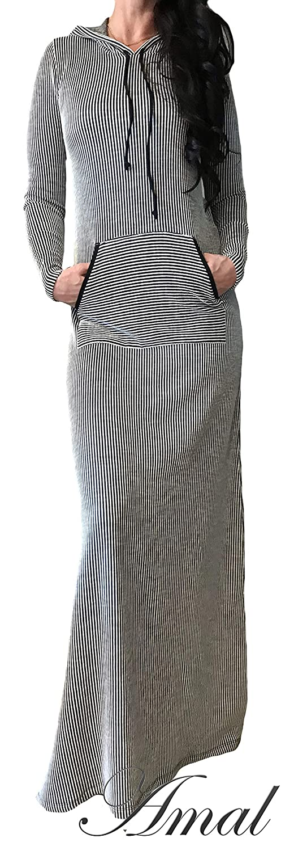 ❤️AMAL Muslim Women Dress Knitwear Maxi Islamic Dress Long Sleeves Hijab Abaya