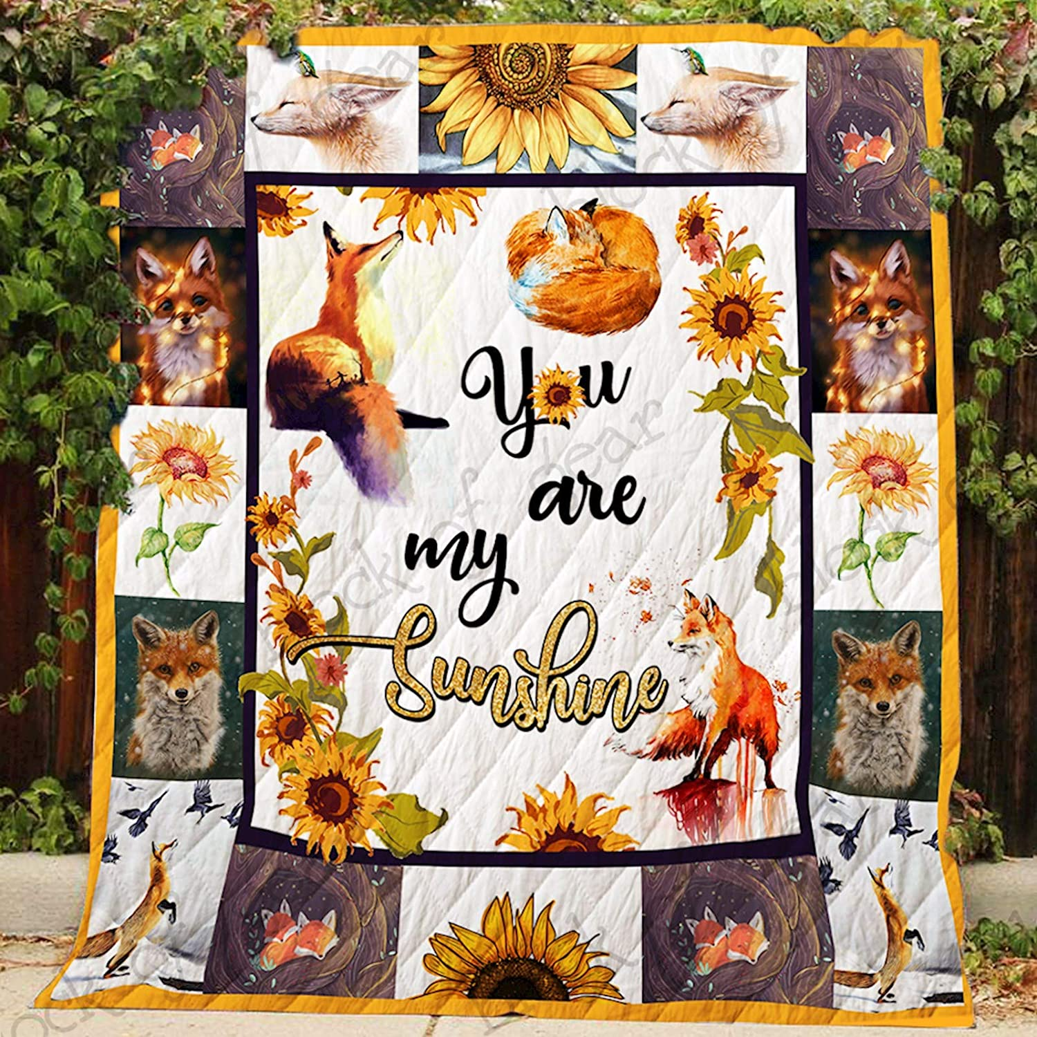 You are My Sunshine Fox Quilt P350, Queen All-Season Quilts Comforters with Reversible Cotton King Queen Twin Size - Best Decorative Quilts-Unique Quilted for Gifts