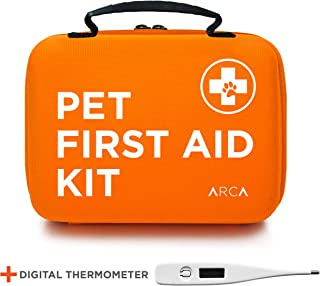 ARCA PET Cat & Dog First Aid Kit Home Office Travel Car Emergency Kit Pet Travel Kit [Hard Case for Protection] – 100 Pieces with Thermometer and Bonus Mini First Aid Kit Pouch & Emergency Collar