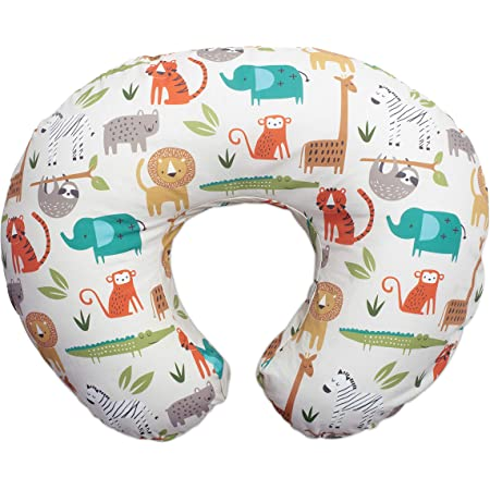 Boppy Nursing Pillow and Positioner—Original | Neutral Jungle Colors with Animals | Breastfeeding, Bottle Feeding, Baby Support | With Removable Cotton Blend Cover | Awake-Time Support