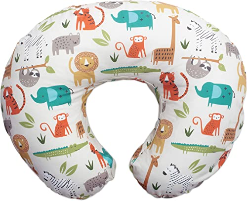 Boppy Original Nursing Pillow & Positioner, Neutral Jungle Colors, Cotton Blend Fabric with Allover Fashion, Multi