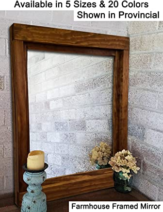 Farmhouse Large Framed Mirror Available In 6 Sizes And 20 Stain Colors:  Shown In Provincial