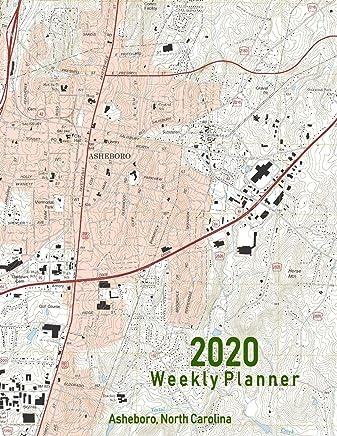 2020 Weekly Planner: Asheboro, North Carolina: Topo Map Cover