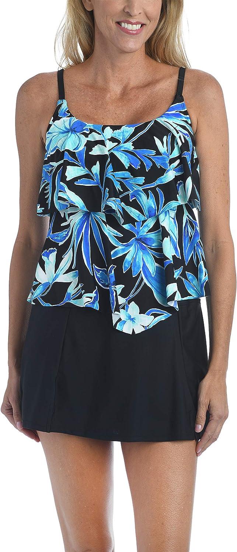 Maxine Of Hollywood Women's 2-Tiered Ruffle Tankini Swimsuit Top
