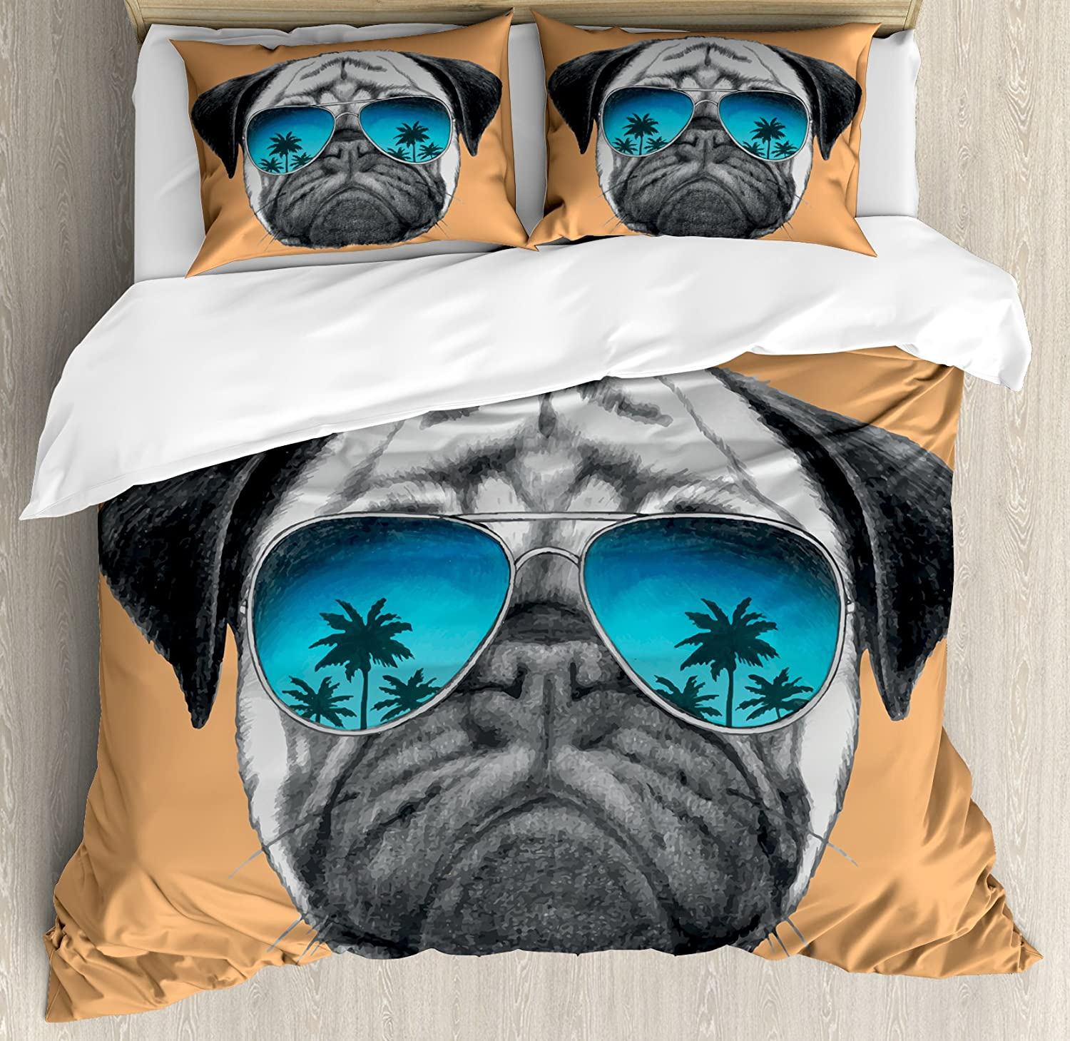 Ambesonne Pug Duvet Cover Set Queen Size, Dog with Reflecting Aviators Palm Trees Tropical Environment Cool Pet Animal, Decorative 3 Piece Bedding Set with 2 Pillow Shams, Black orange bluee